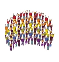 Rainbow symbol pride big group happy people vector image