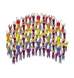Rainbow symbol pride big group happy people vector