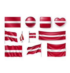 set latvia flags banners banners symbols flat vector image vector image