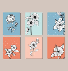 set of cards with botany vector image vector image