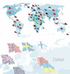 set of flags world map vector image