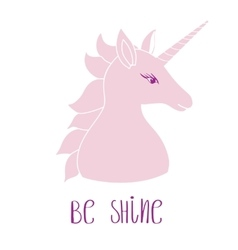 Silhouette of a unicorn with inscription vector image vector image