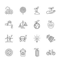 sixteen flat eco icons vector image