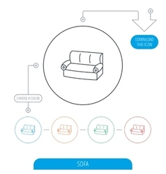Sofa icon Comfortable couch sign vector image
