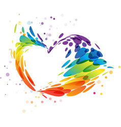 splash multicolor heart on white vector image vector image