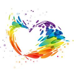 Splash multicolor heart on white vector