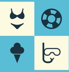 Sun icons set collection of dinghy bikini vector
