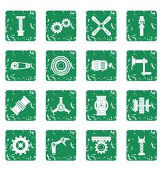 Techno mechanisms kit icons set grunge vector
