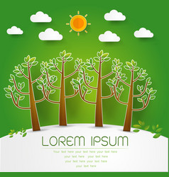 Template set of green forest trees and bushes pop vector