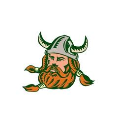 Viking Warrior Head Woodcut vector image vector image