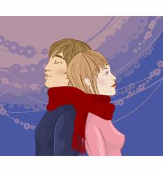 winter couple vector image vector image