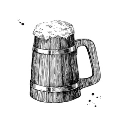 Wooden beer mug sketch style vector image vector image