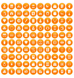 100 deposit icons set orange vector