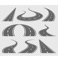 Winding curved road or highway with markings vector