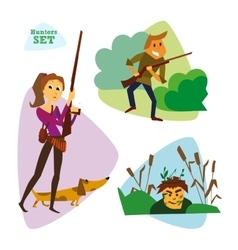 Funny cartoon hunters set Huntering vector image