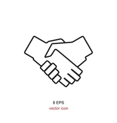 Black icon handshake for business and finance vector