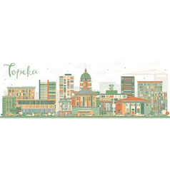 Abstract topeka skyline with color buildings vector