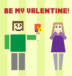 Valentine day postcard with square boy and girl vector
