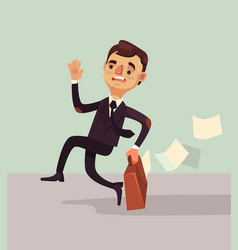 office worker man character hurry and late vector image