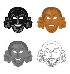 Greek antique mask icon in cartoon style isolated vector