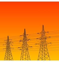 Electric pylon at sunset vector