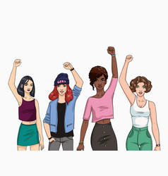 Feminism concept different young modern girls vector