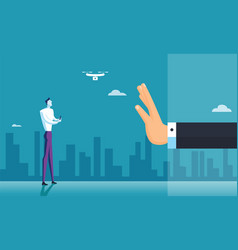 hand business stop drone zone vector image
