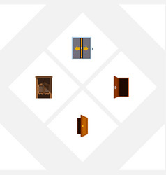 Flat icon door set of lobby saloon entry and vector