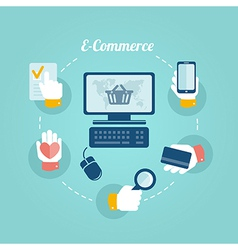 Flat design concept of online shop and e commerce vector image