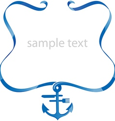 sea food background with ribbon vector image