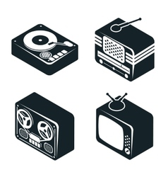 Isometric 3d icons of retro media devices vector