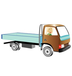 Truck with woman vector