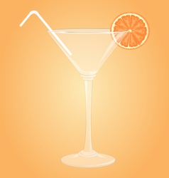 Glass for martini with orange and plastic tube vector