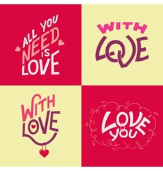 Valentines day hand-lettering cards vector image