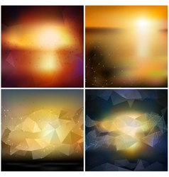 Set of blurry backgrounds abstract geometric vector