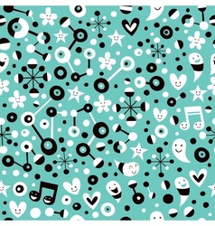 Fun cartoon turquoise blue pattern vector