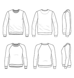Front back and side views of blank sweatshirt vector
