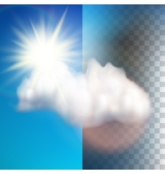 Sun with cloud floats in the sky eps 10 vector