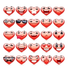 Valentine heart emoticons collection vector
