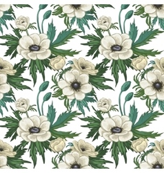 Anemone seamless pattern vector