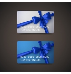 Gift Cards With Blue Bow And Ribbon vector image
