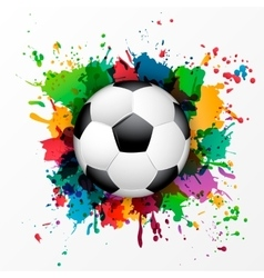 Soccer ball with colorful spray paint vector