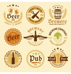 Colored beer emblem set vector