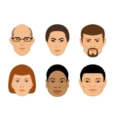 Set of human faces different age and ethnicity vector