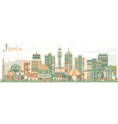 Abstract Izmir Skyline with Color Buildings vector image vector image