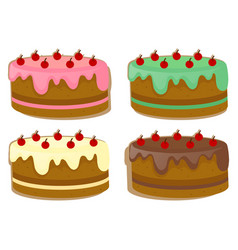 cake with four different toppings vector image