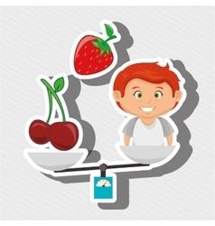 Cartoon boy food fruit balance vector