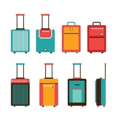 Colorful travel bag icon set Carry on luggage vector image