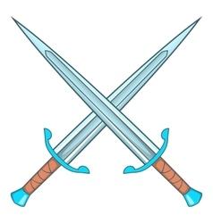 Crossed swords icon cartoon style vector image