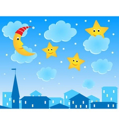 Cute of night roofs funny moon and stars vector